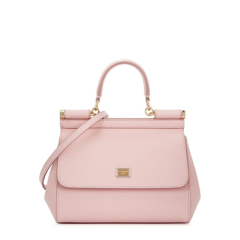 Dolce & Gabbana Miss Sicily Blush Grained Leather Top Handle Bag