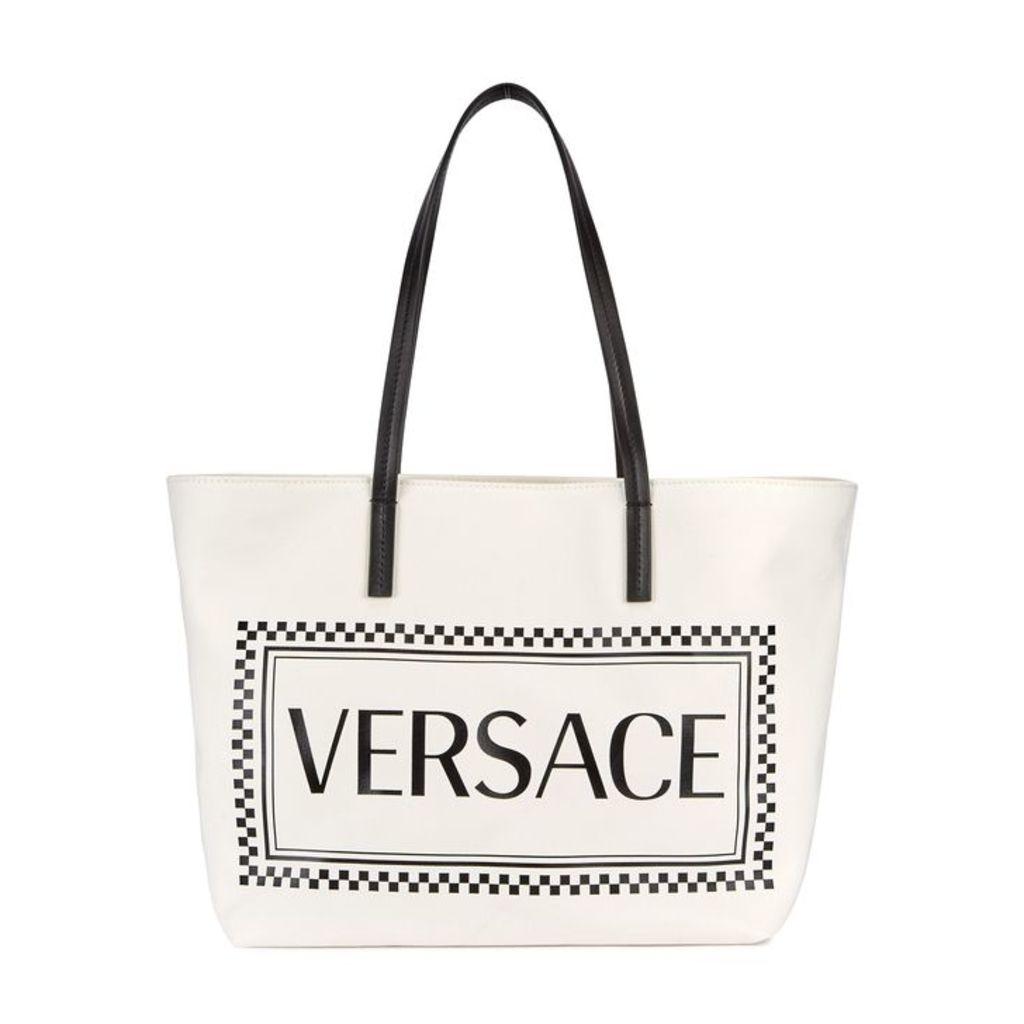 Versace White Logo-print Canvas Tote