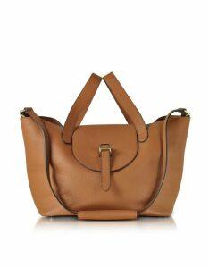Meli Melo Tan Coimbra Leather Thela Medium Tote Bag