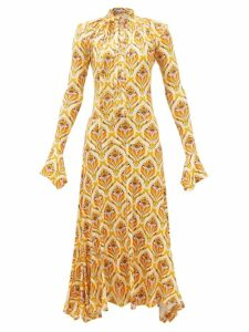 Vetements - Floral Print Pleated Dress - Womens - Black Multi