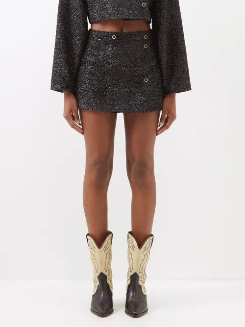 Rochas - Rose Jacquard Cotton And Silk Blend Midi Dress - Womens - Black Multi