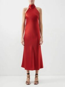 Rochas - Rose Jacquard Cotton And Silk Blend Midi Dress - Womens - Black Multi