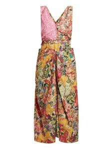 Marni - Panelled Floral Print Waxed Poplin Dress - Womens - Pink Multi