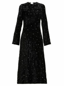 Miu Miu - Crystal Embellished Open Back Velvet Dress - Womens - Black
