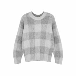 Vince Grey Checked Alpaca-blend Jumper