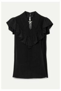 Miu Miu - Embellished Ruffled Silk Crepe De Chine Top - Black