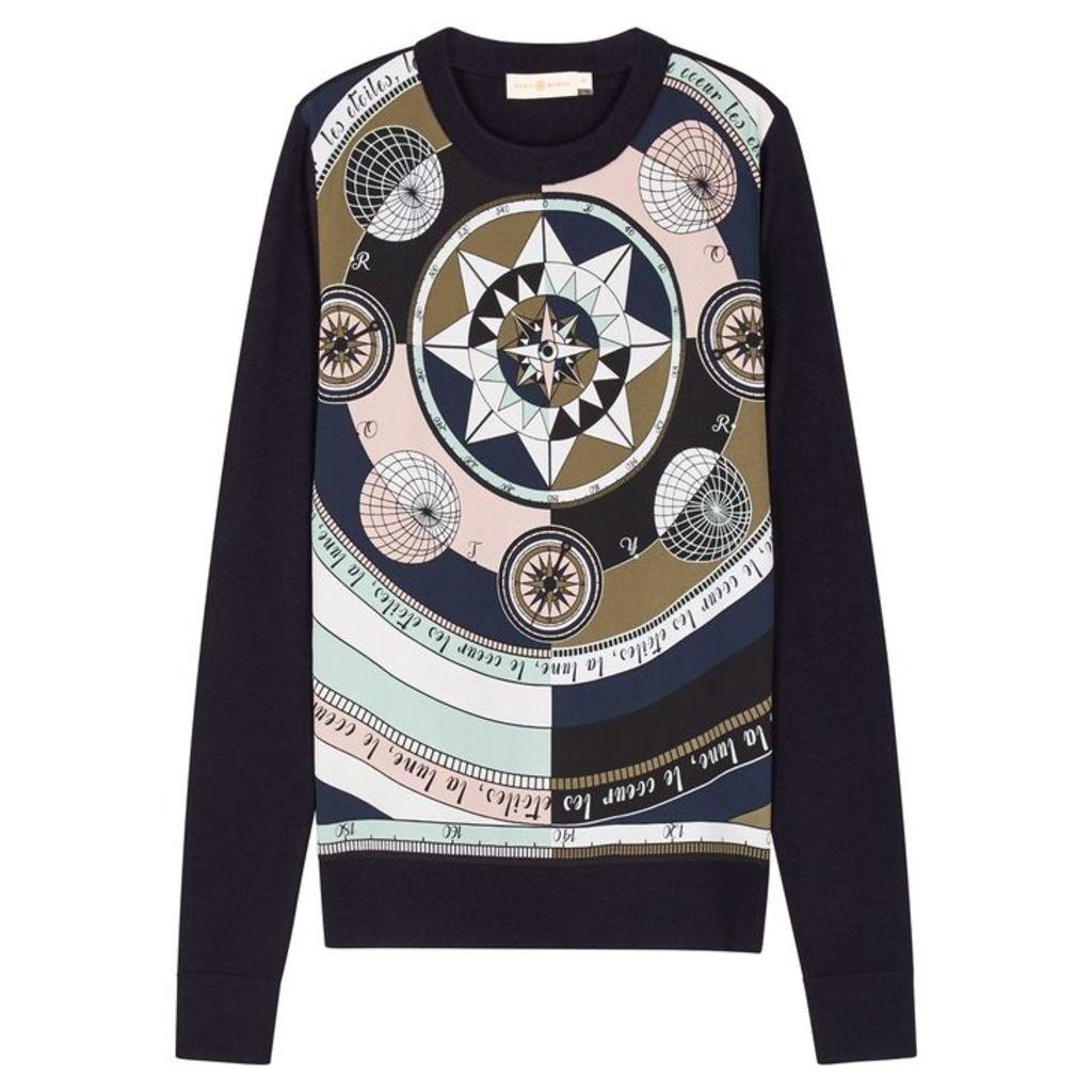 Tory Burch Printed Silk And Wool Jumper