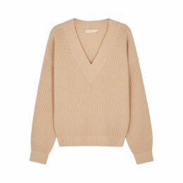 Tory Burch Camel Wool And Cashmere-blend Jumper