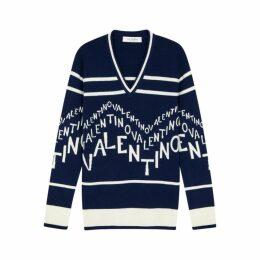 Valentino Logo-jacquard Wool-blend Jumper