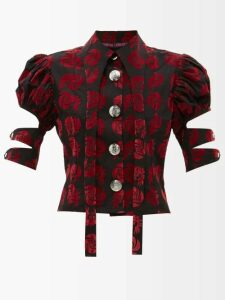 Giambattista Valli - Chantilly And Guipure Lace Cotton Blend Dress - Womens - Black