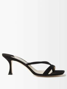 Emilia Wickstead - Karinette V Neck Midi Dress - Womens - Blue