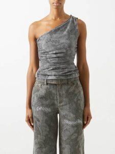 Petar Petrov - Dellar Asymmetric Silk Blend Lamé Midi Dress - Womens - Gold Multi