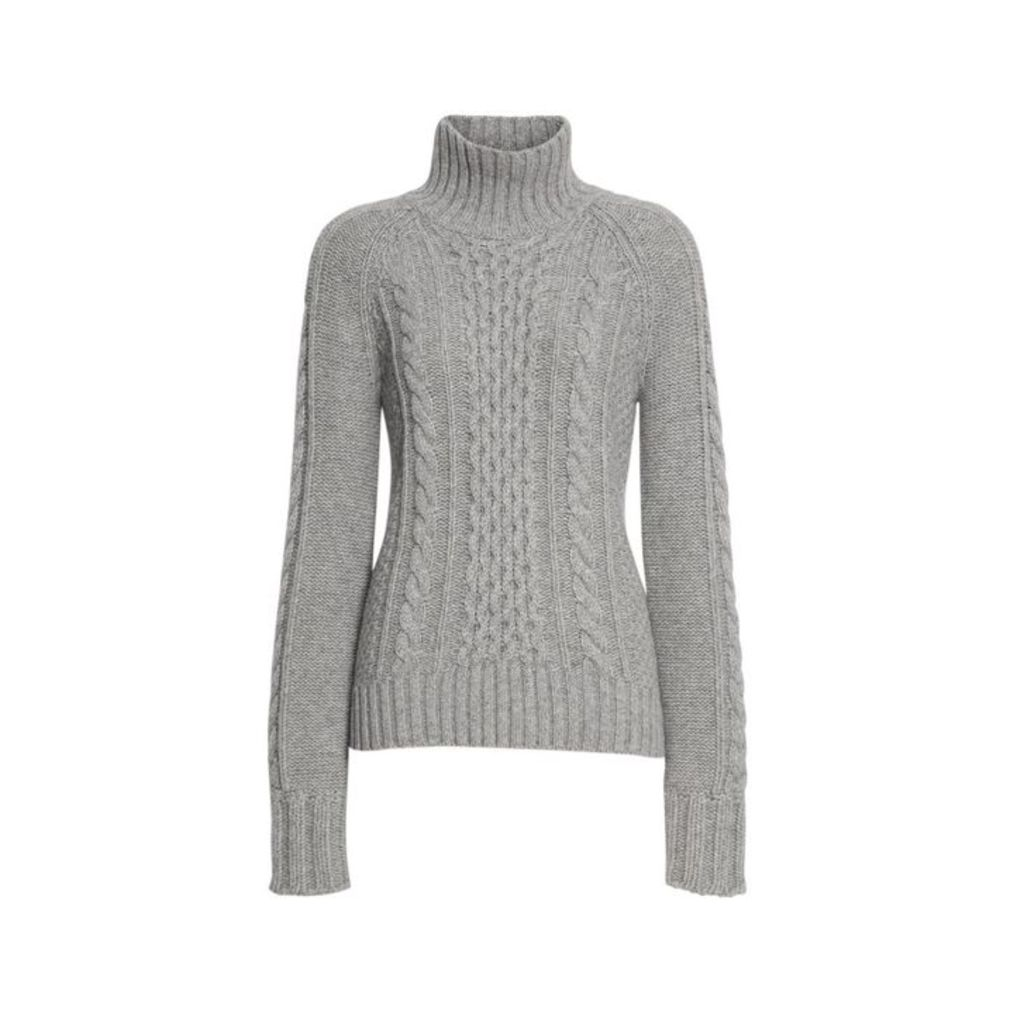 Burberry Cable Knit Cashmere Turtleneck Sweater