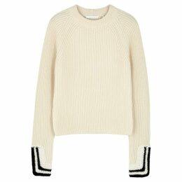 Helmut Lang Cream Ribbed Cotton-blend Jumper