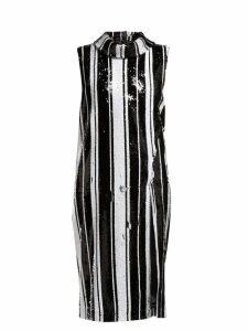 Halpern - Sequinned High Neck Midi Dress - Womens - Black White