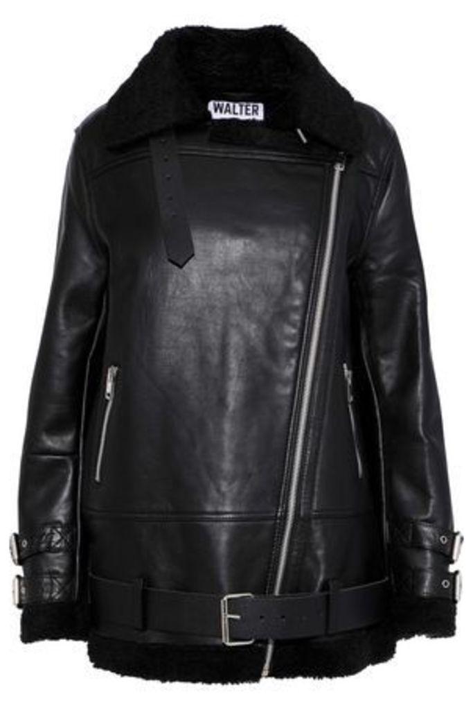 W118 By Walter Baker Woman Adele Faux Shearling-trimmed Leather Jacket Black Size L