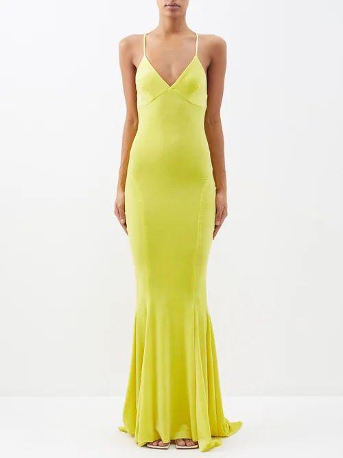 Saloni - Lea Floral Embroidered Silk Satin Dress - Womens - Green Multi