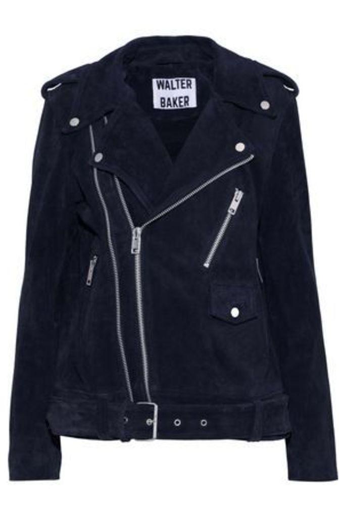 W118 By Walter Baker Woman Kendra Suede Biker Jacket Navy Size S