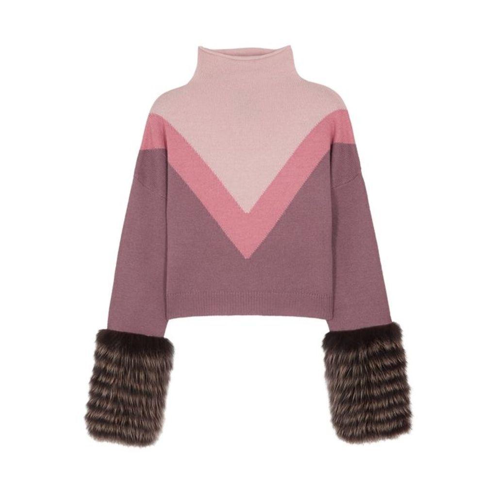Izaak Azanei Colour-block Fur-trimmed Wool-blend Jumper