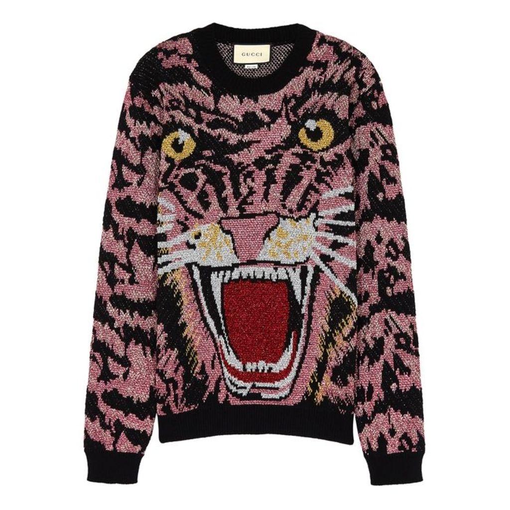 Gucci Metallic Tiger-jacquard Wool-blend Jumper