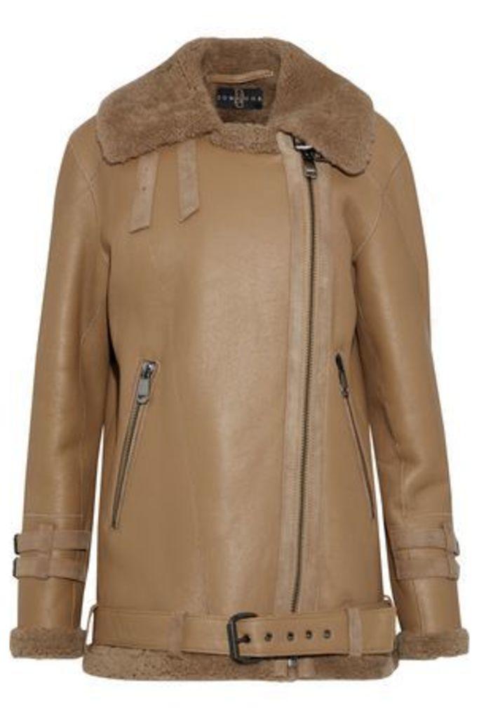 Dom Goor Woman Shearling Biker Jacket Brown Size 6