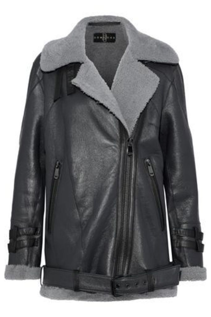 Dom Goor Woman Shearling Biker Jacket Charcoal Size 10