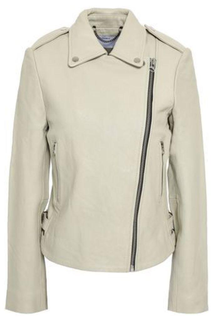 Muubaa Woman Leather Jacket Ecru Size 8