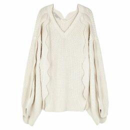 Stella McCartney Ecru Scalloped Cotton-blend Jumper