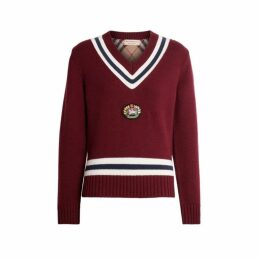 Burberry Embroidered Crest Wool Cashmere Sweater