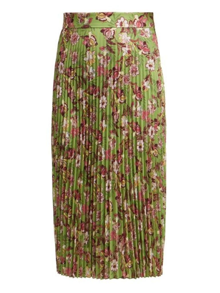 Vetements - Floral Print Pleated Midi Skirt - Womens - Green Multi