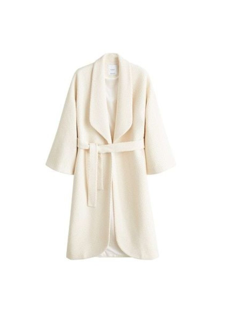 Herringbone pattern wool coat
