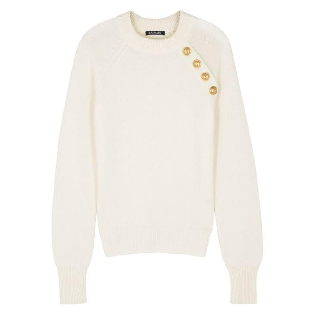 Balmain Ivory Wool And Cashmere-blend Jumper