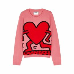 Alice + Olivia X Keith Haring Intarsia Stretch-wool Jumper