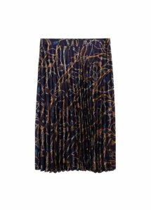 Chain print pleated skirt
