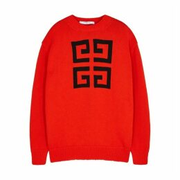Givenchy 4G Red Logo-intarsia Cotton Jumper