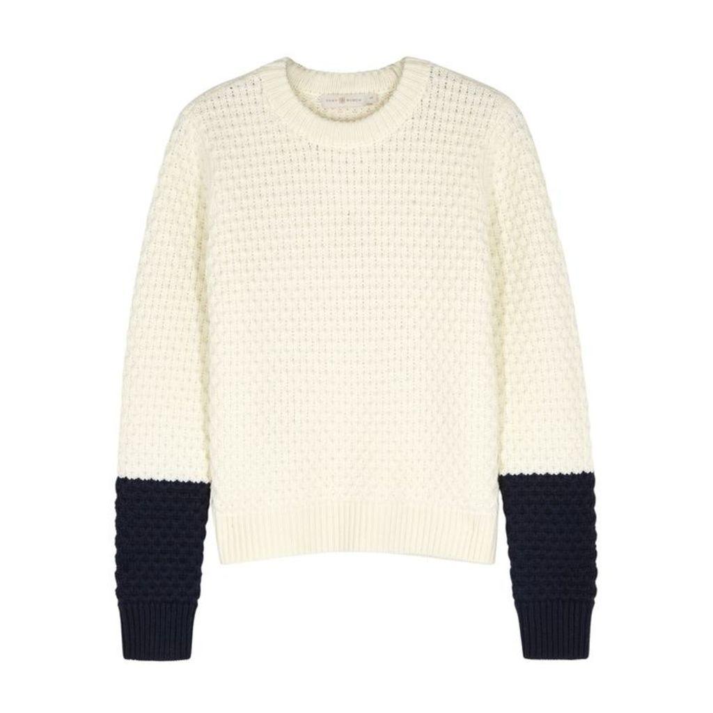 Tory Burch Ivory Honeycomb-knit Wool Jumper