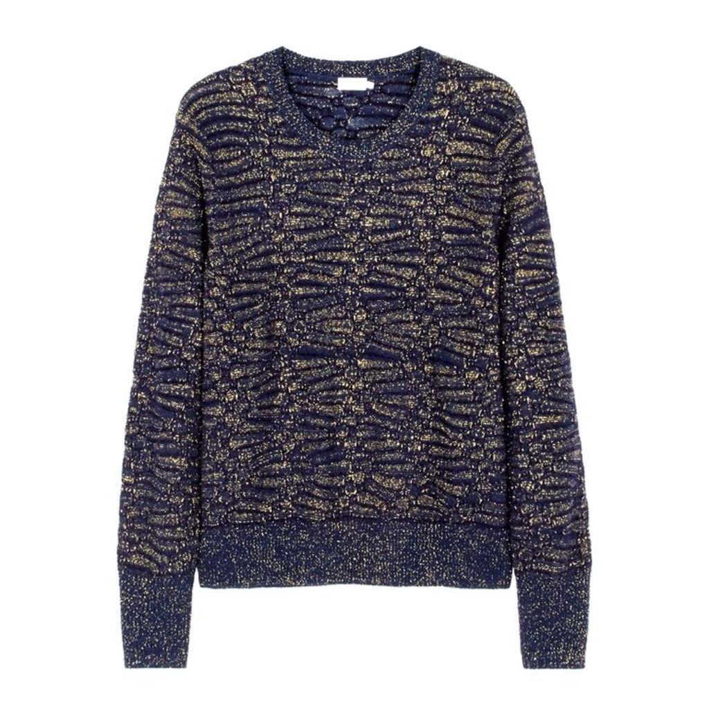 Filippa K Navy Metallic-weave Wool-blend Jumper