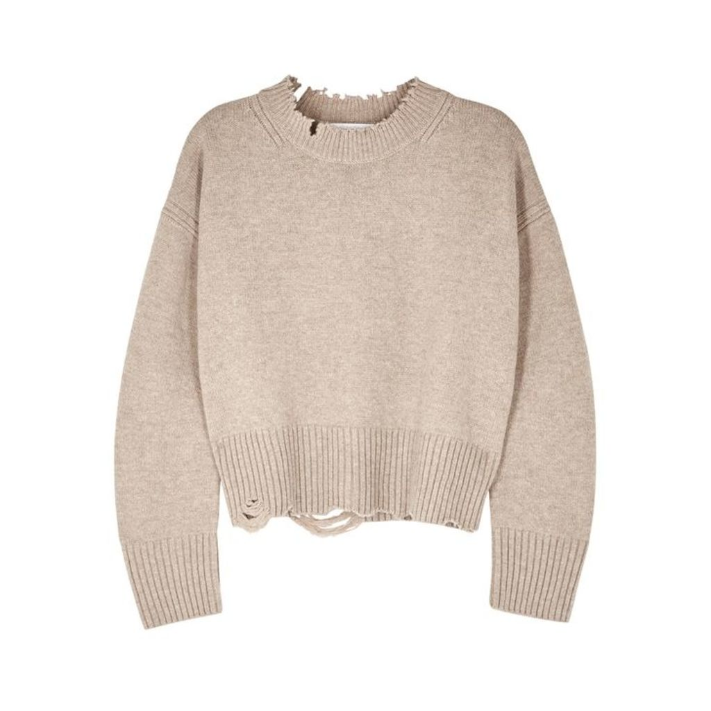 Helmut Lang Light Taupe Distressed Wool-blend Jumper