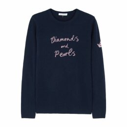BELLA FREUD Diamonds And Pearls Navy Cashmere Jumper