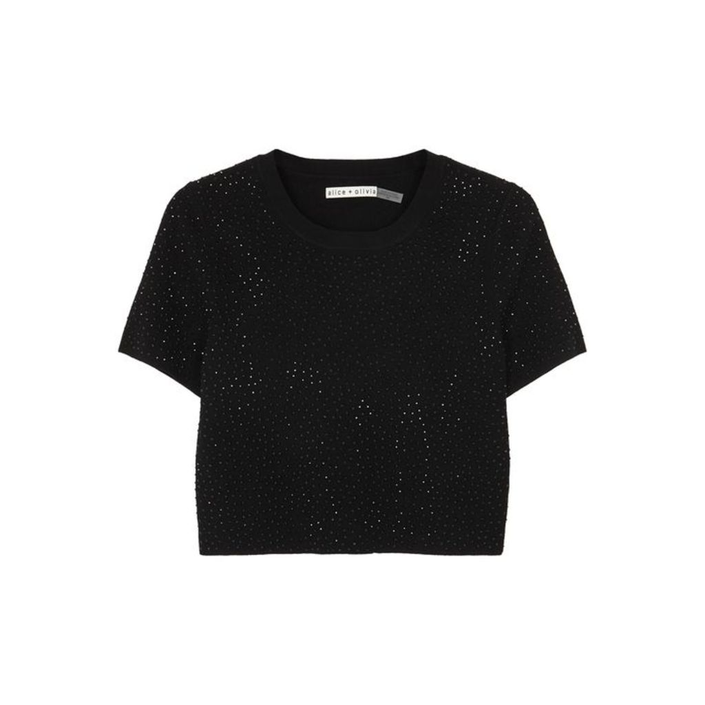 Alice + Olivia Ciara Black Crystal-embellished Jumper