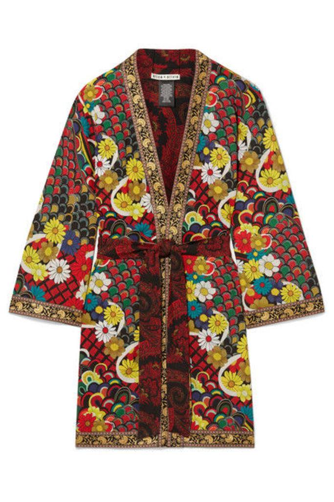 Alice + Olivia - Lynn Jacquard-trimmed Printed Crepe De Chine Kimono - Red
