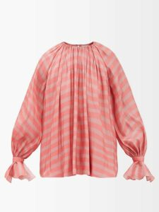 Bottega Veneta - Contrast Panel Denim Dress - Womens - Light Blue