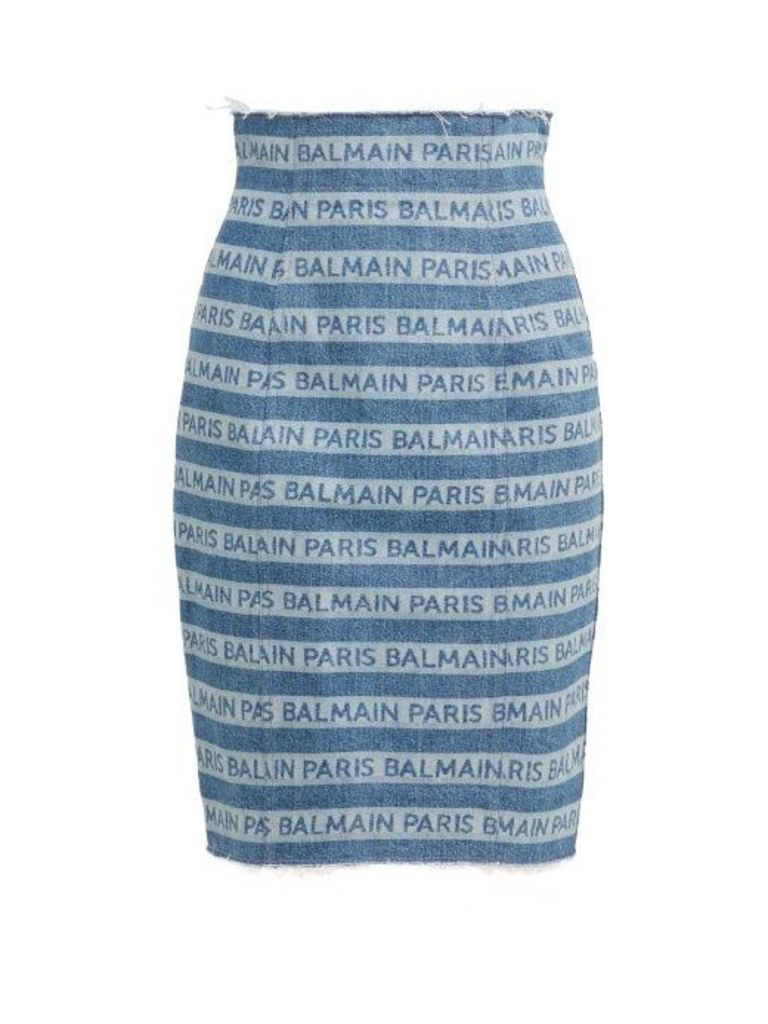 Balmain - Logo Zip Front Denim Skirt - Womens - Blue