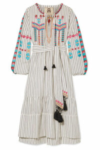 Figue - Noor Tassled Embroidered Cotton-voile Dress - Ivory