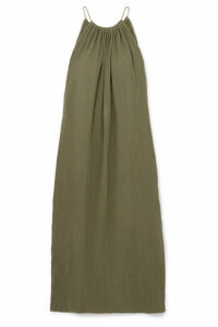 Caravana - Kalam Leather-trimmed Cotton-gauze Maxi Dress - Army green