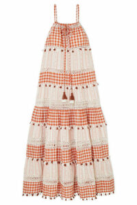 Dodo Bar Or - Tasseled Cotton-jacquard And Poplin Maxi Dress - Orange