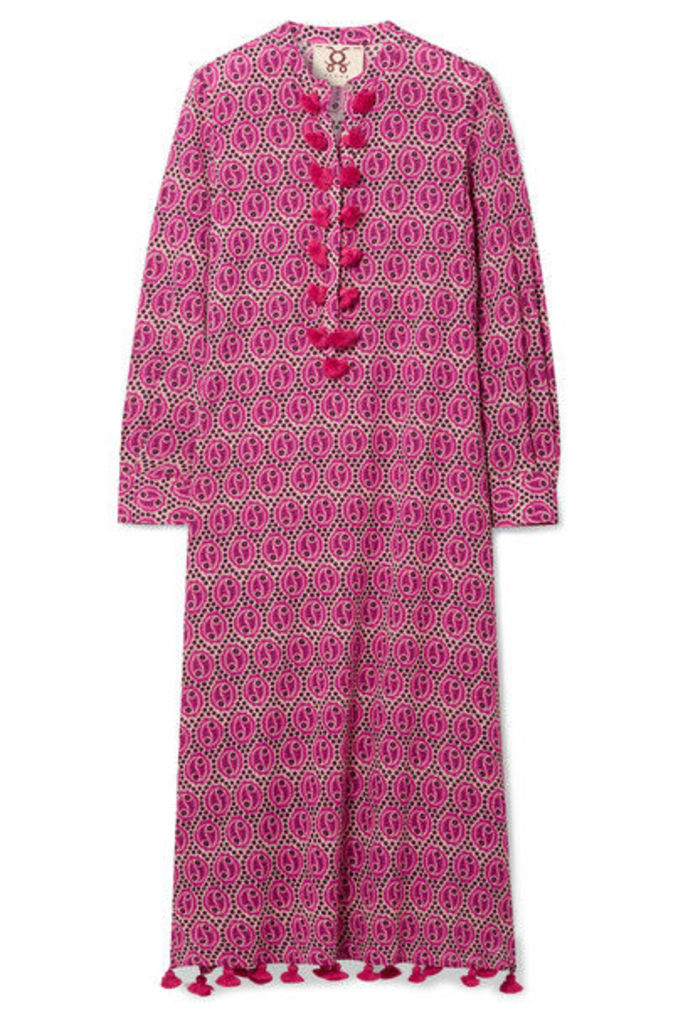 Figue - Paolina Tasseled Printed Voile Midi Dress - Pink