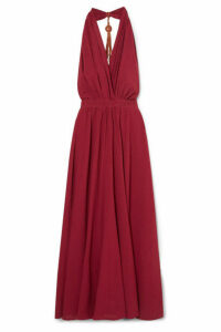 Caravana - Nuup Leather-trimmed Cotton-gauze Halterneck Maxi Dress - Red