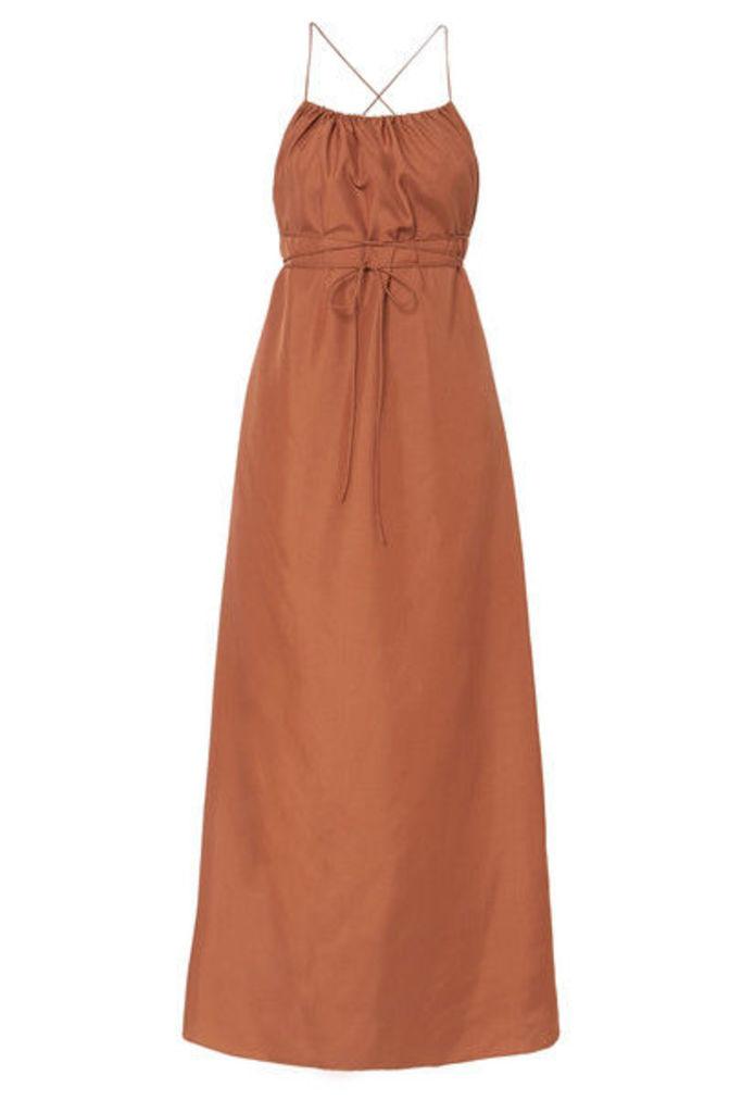 Three Graces London - Gwendoline Open-back Silk-habotai Maxi Dress - Camel