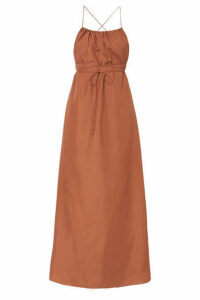 Three Graces London - Gwendoline Open-back Silk-habotai Maxi Dress - Camel